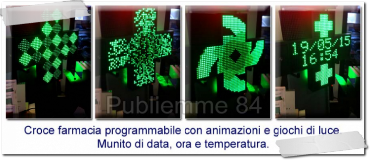 Croce farmacia a led con data ora e temperatura